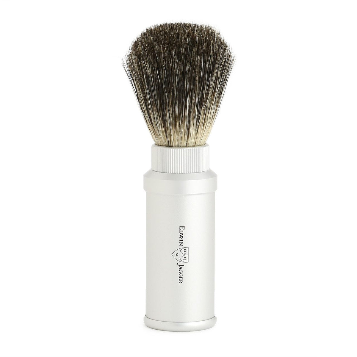 Edwin Jagger Travel Pure Badger Shaving Brush  - Silver