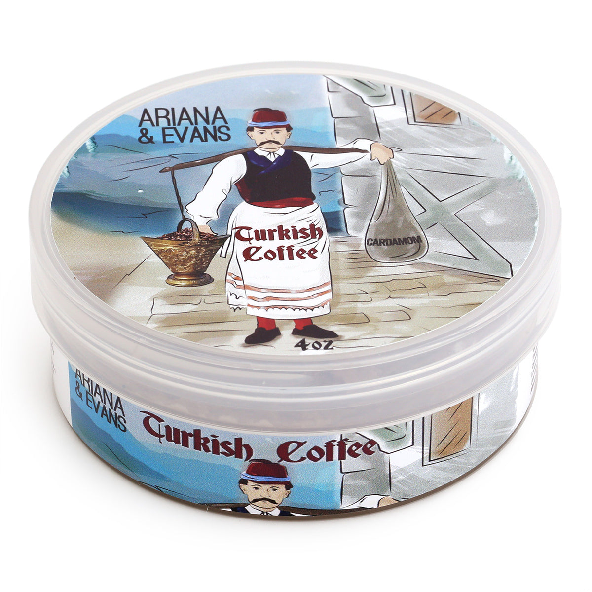 Ariana & Evans Shave Soap Turkish Coffee - 118ml Tub, 3/4 view