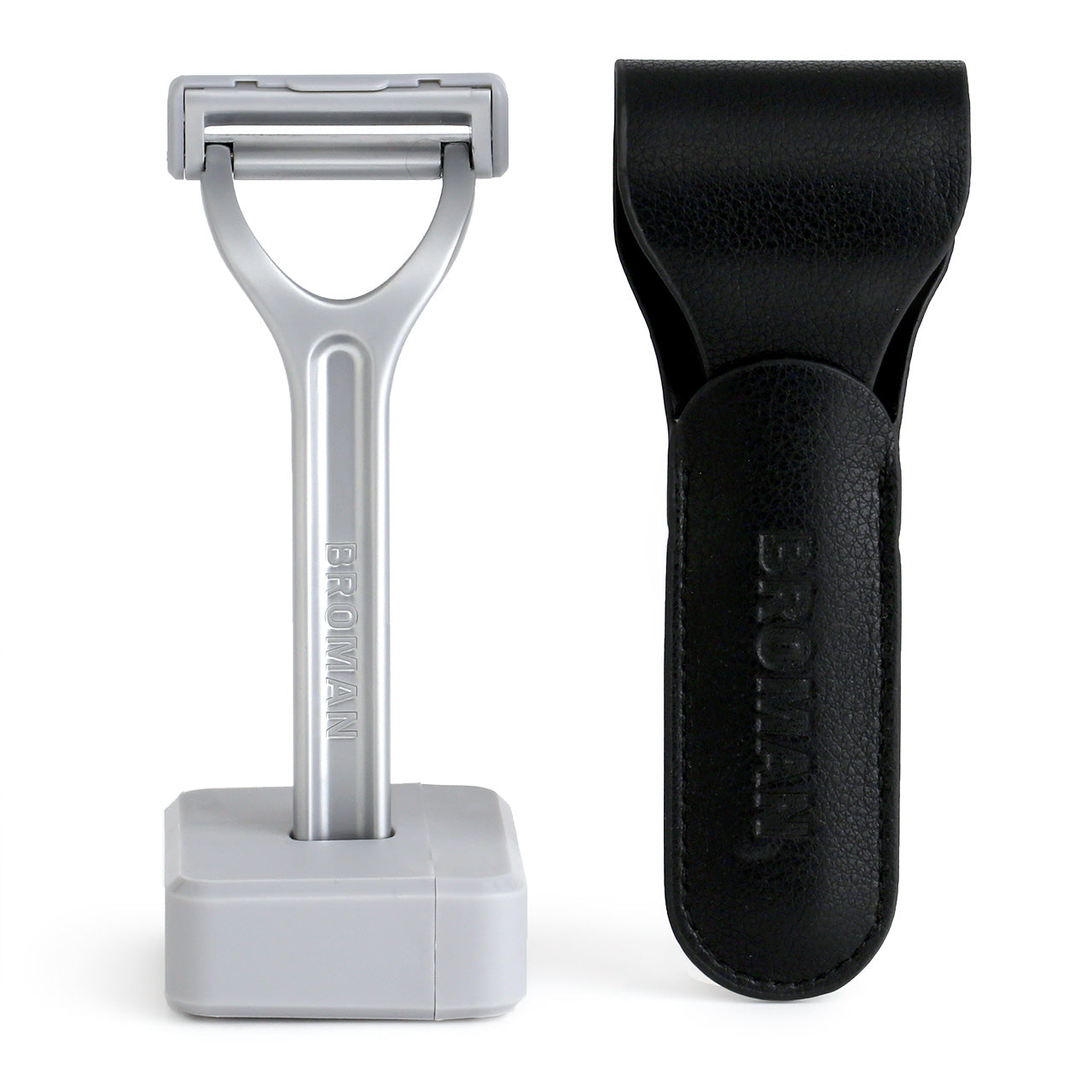 Broman Razor, stand and packaging