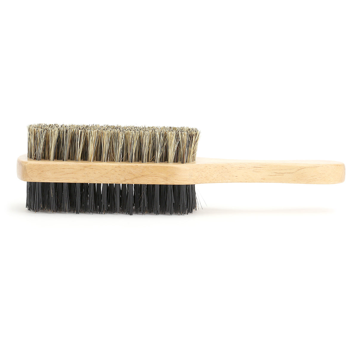 Beard Brush, two sided with wooden paddle handle - side view