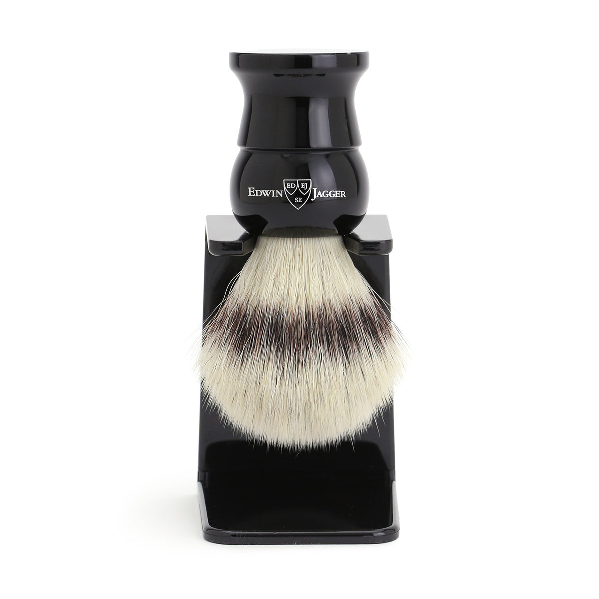 Edwin Jagger Imitation Ebony Shaving Brush Synthetic Silver Tip with Drip Stand - Medium