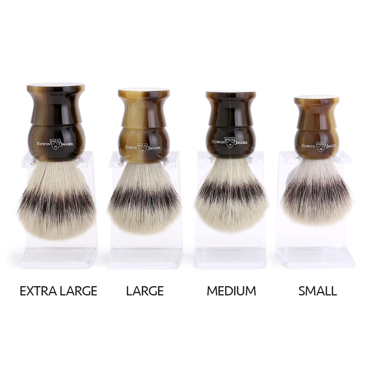 Edwin Jagger Cruelty-Free Horn shaving brushes comparison of 4 sizes