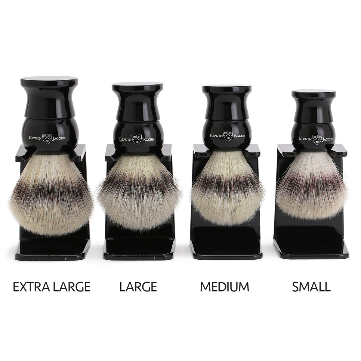 Edwin Jagger Imitation Ebony Shaving Brush Synthetic Silver Tip with Drip Stand - Large