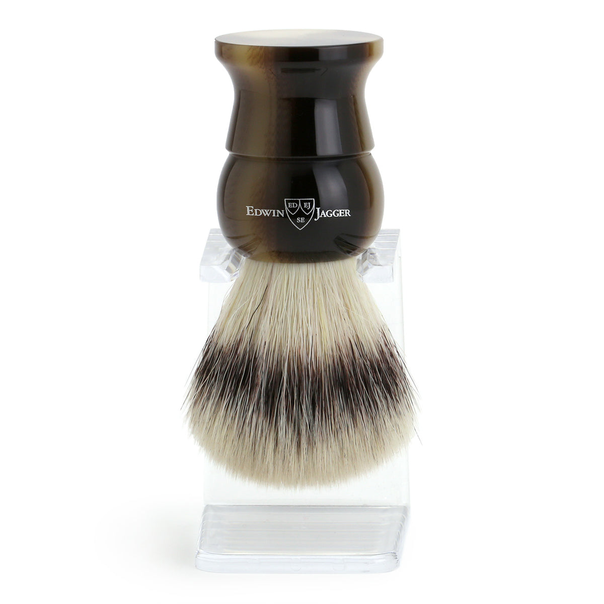 Edwin Jagger Imitation Light Horn Shaving Brush Synthetic Silver Tip with Drip Stand - Extra Large