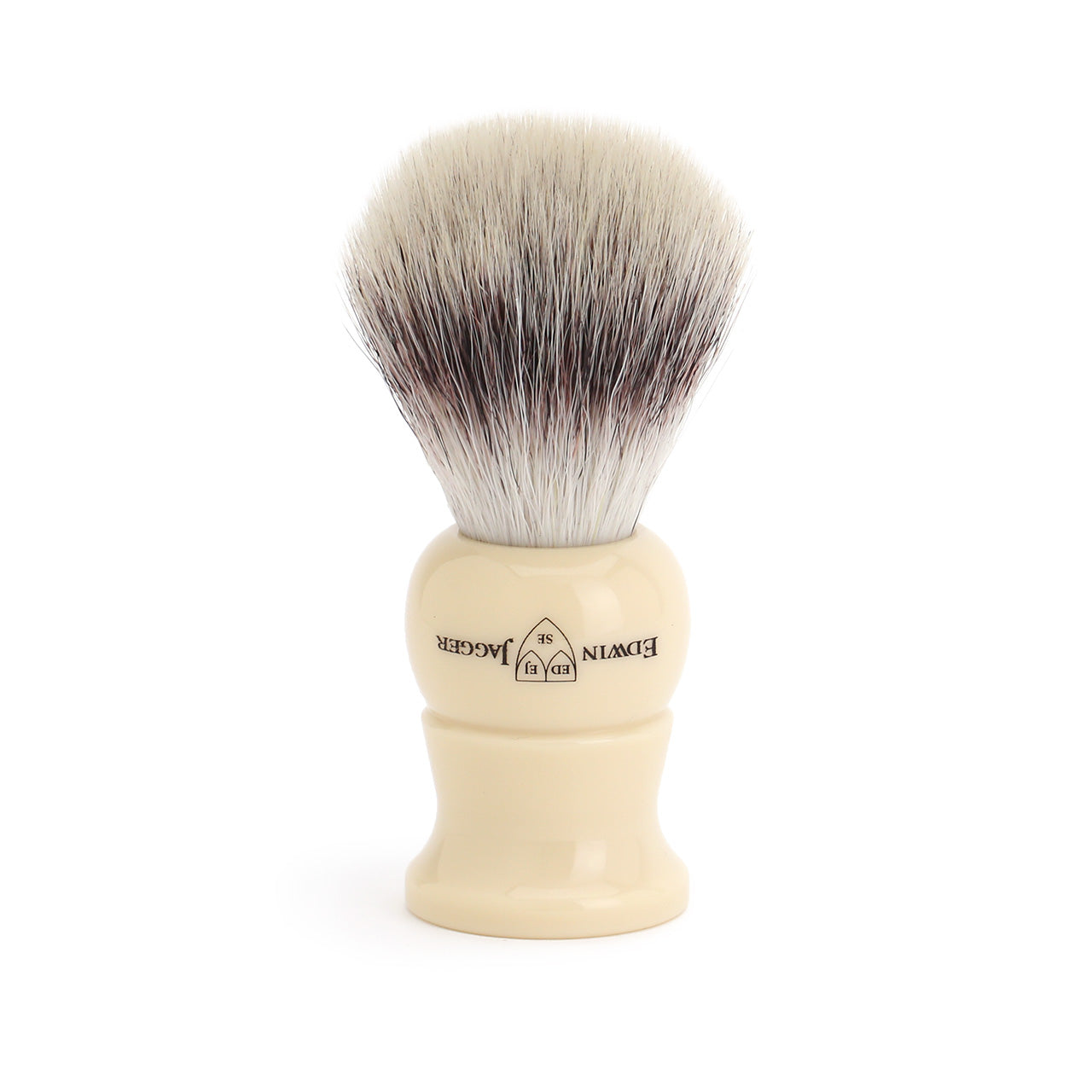 Edwin Jagger Ivory Cruelty Free Shaving Brush on drip stand
