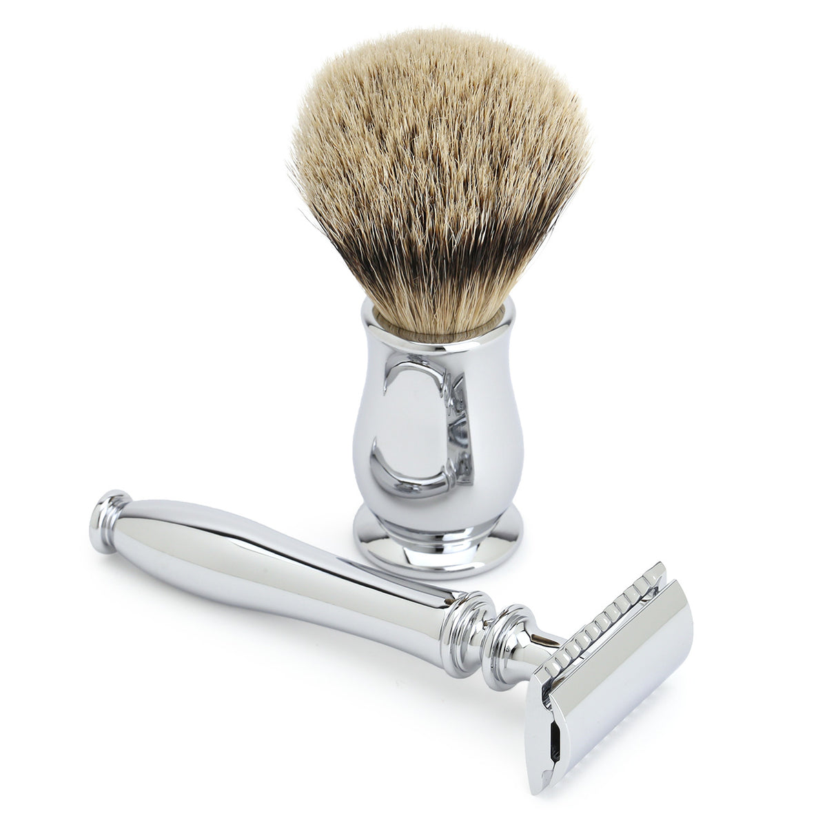 Edwin Jagger Chatsworth smooth chrome razor and brush