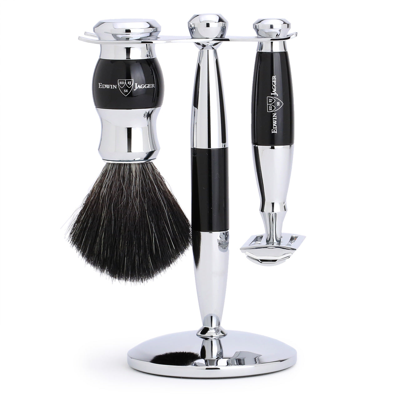 Edwin Jagger Chrome & black 3 piece set with black synthetic brush