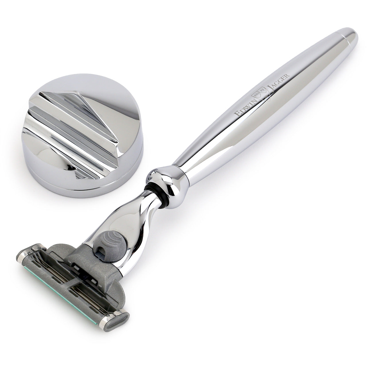 Edwin Jagger Mach3 Razor & Stand Smooth Chrome Bulbous