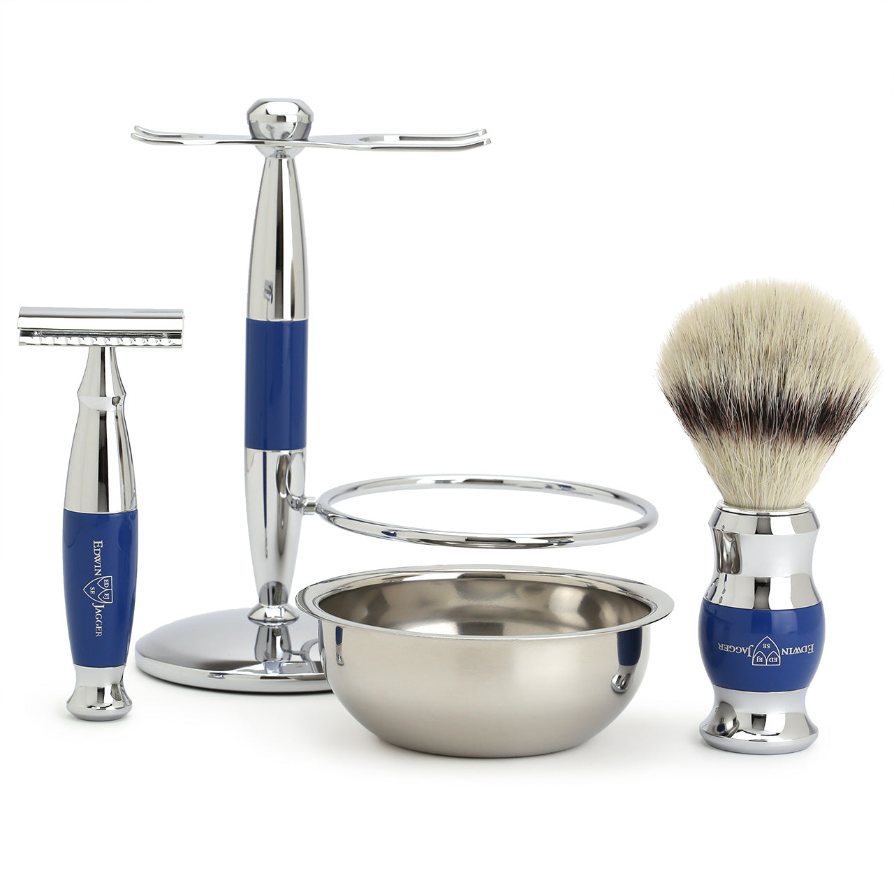 Edwin Jagger Shaving Set with Shaving Brush, Safety Razor, Stand and Bowl - Blue