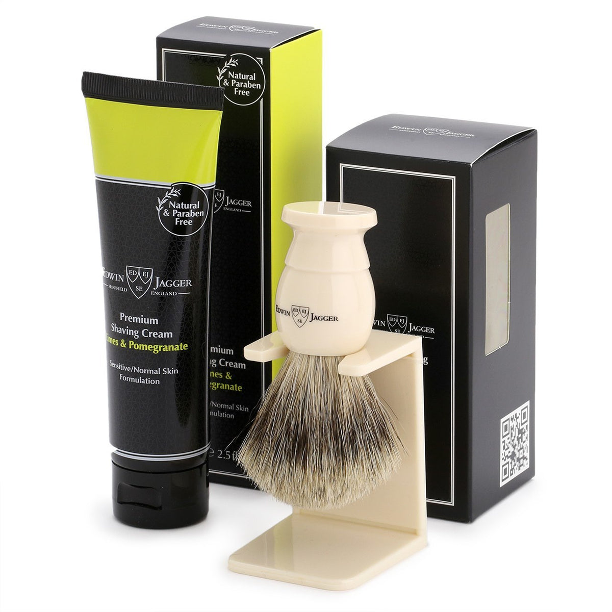 Edwin Jagger Imitation Ivory Shaving Brush and Lime & Pomegranate Shave Cream Gift Set
