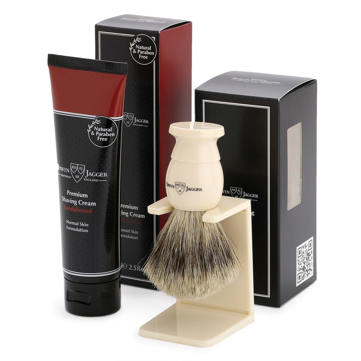 Edwin Jagger Imitation Ivory Shaving Brush & Sandalwood Shave Cream Gift Set