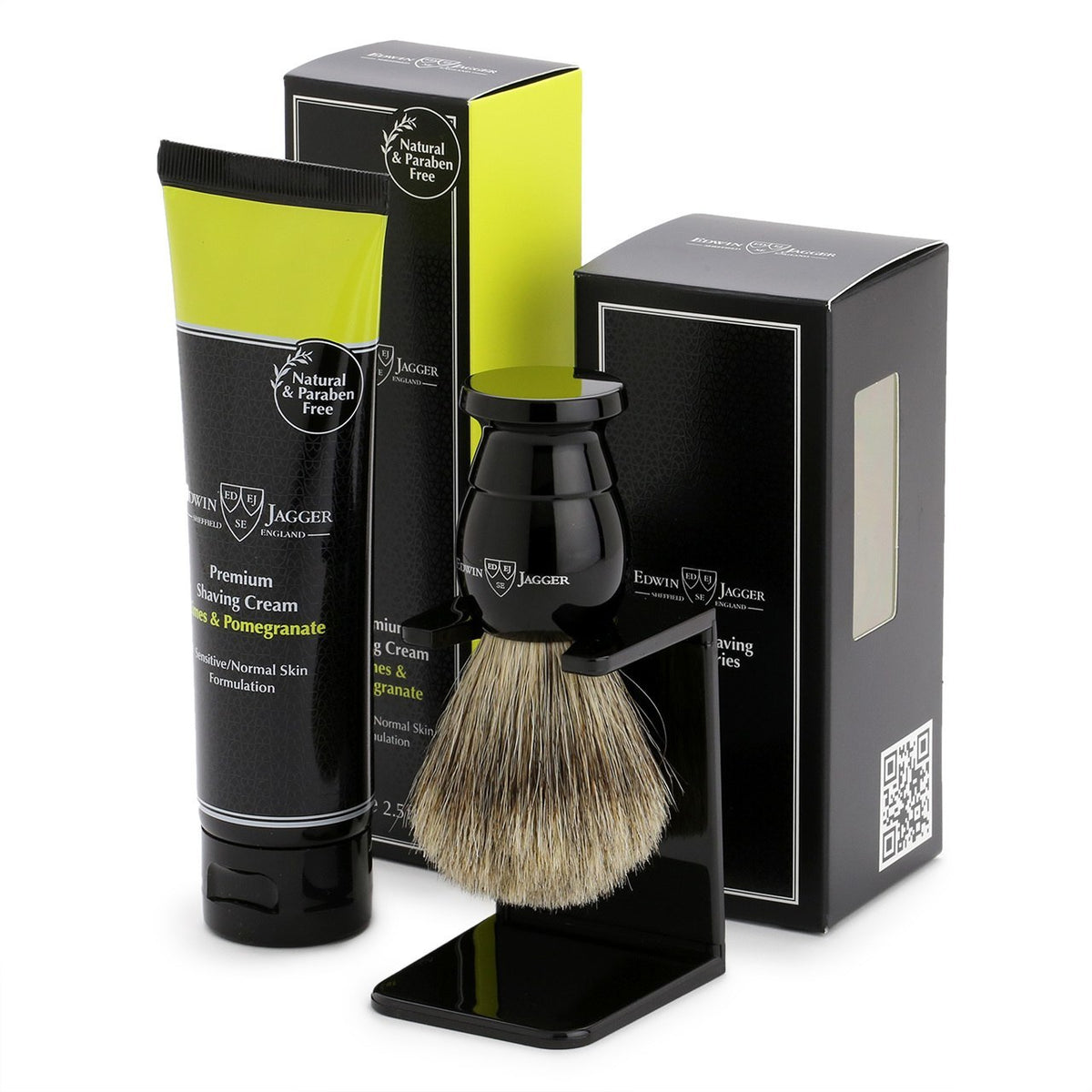 Edwin Jagger Imitation Ebony Shaving Brush and Lime & Pomegranate Shave Cream Gift Set
