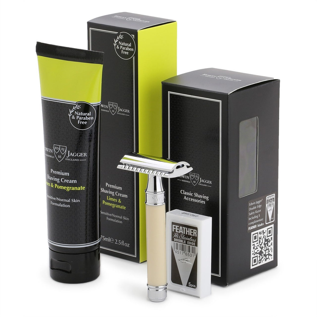 Edwin Jagger DE86 Ivory Razor & Limes and Pomegranate Shave Cream Set