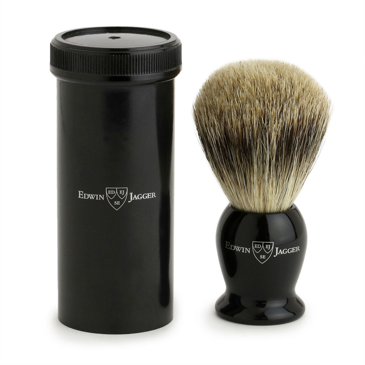 Edwin Jagger Best Badger Travel Brush & Tube - Imitation Ebony