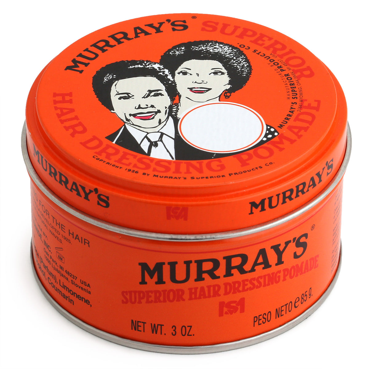 Murrays Superior Hair Dressing Pomade, 85g. Top view