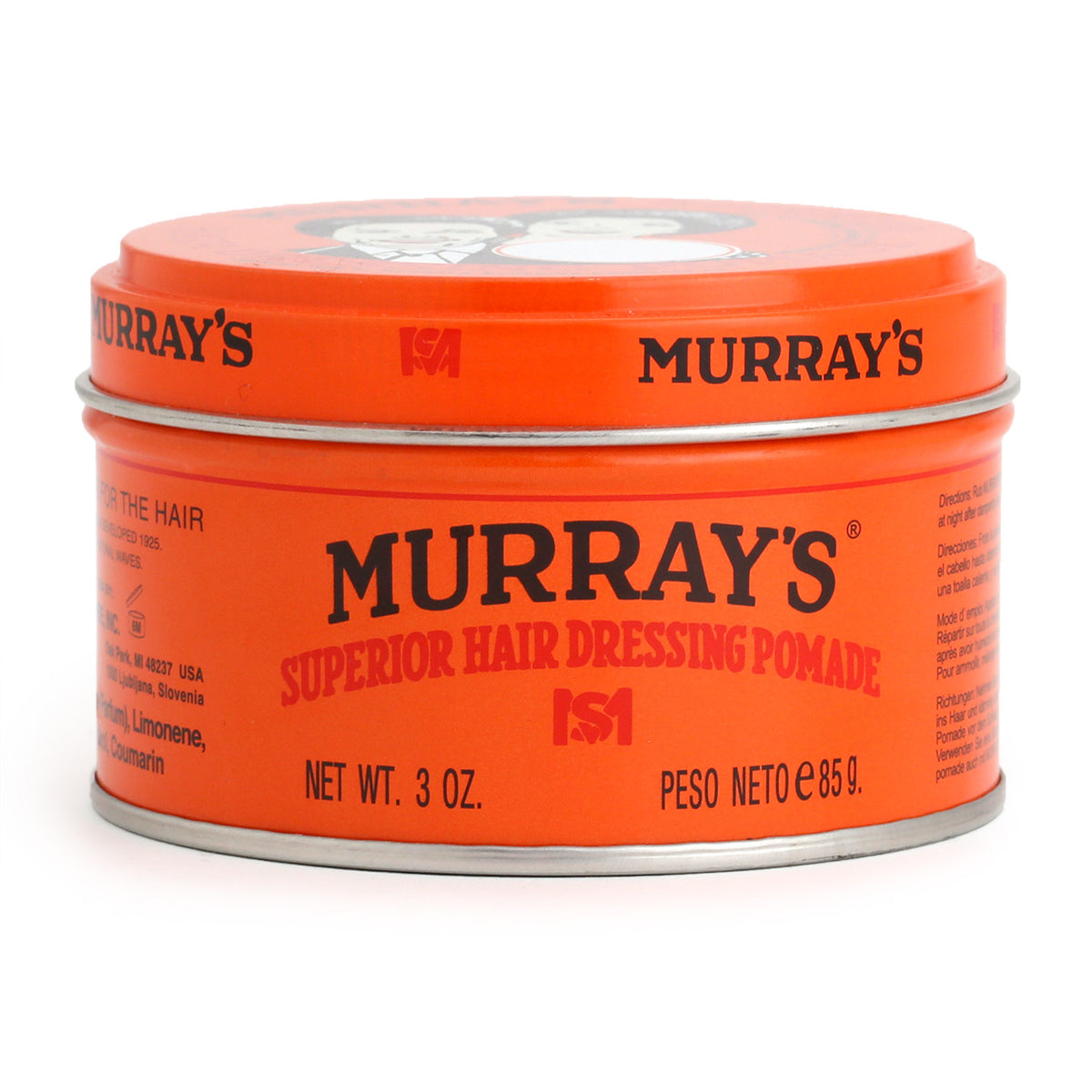 Murrays Superior Hair Dressing Pomade, 85g. Side view