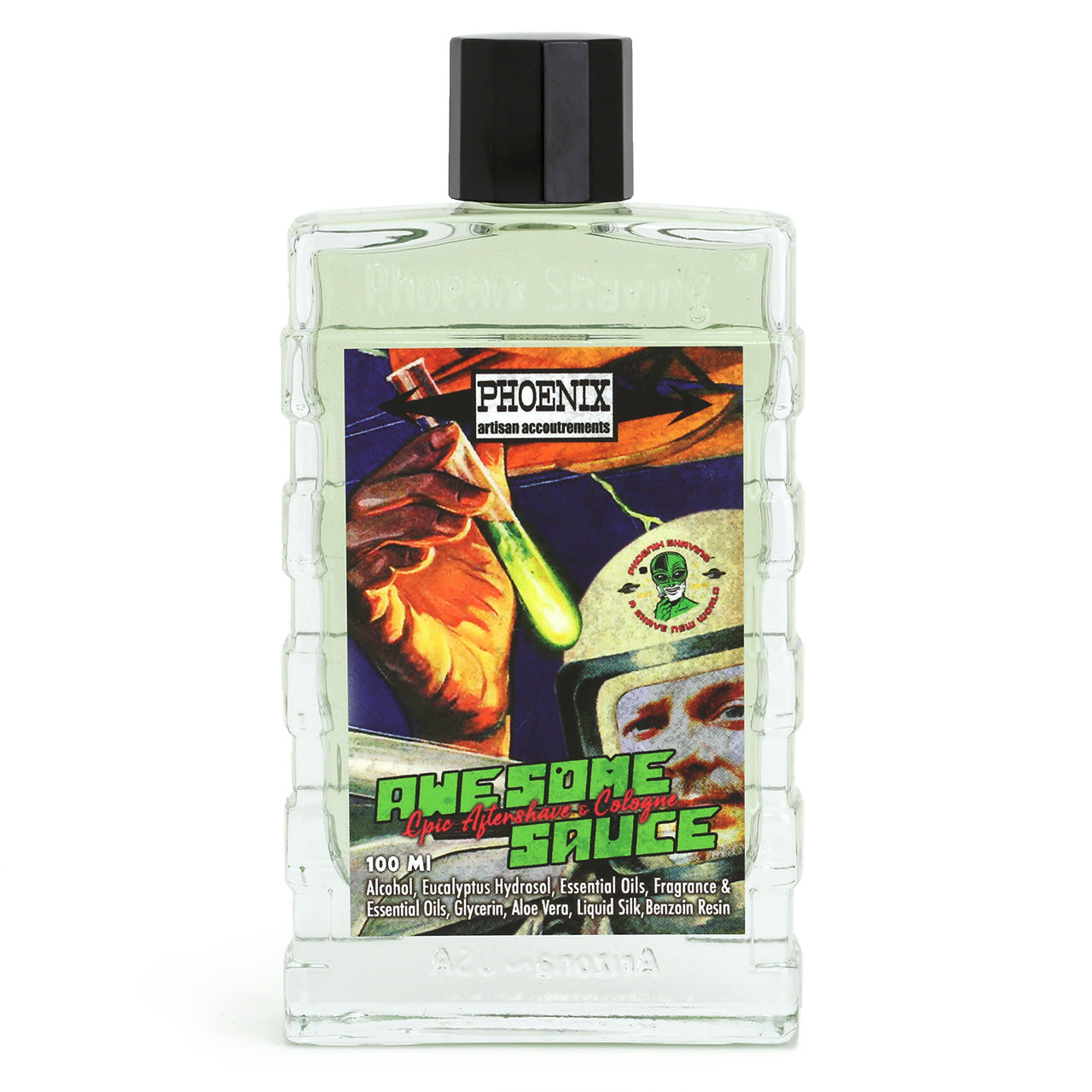 Phoenix Shaving Aftershave, Awesome Sauce, bottle