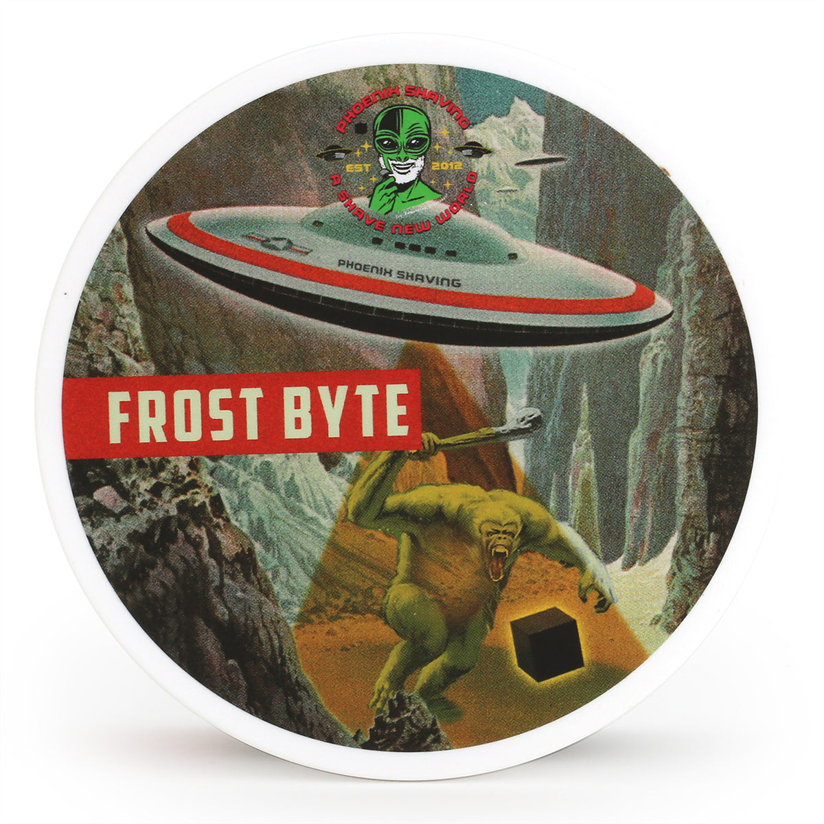 Phoenix Shaving Frost Byte Shave Soap tub with Alien-Landing label top view
