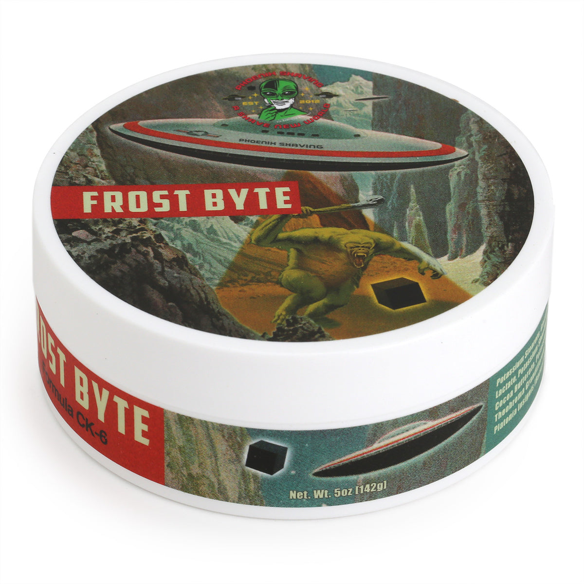 Phoenix Shaving Frost Byte Shave Soap tub with Alien-Landing label three quarter view