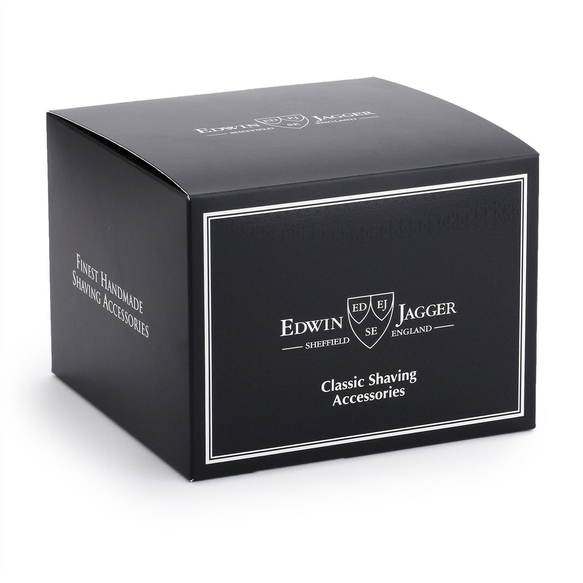 Edwin Jagger Porcelain Shaving Soap Bowl with Silver Rim - Black