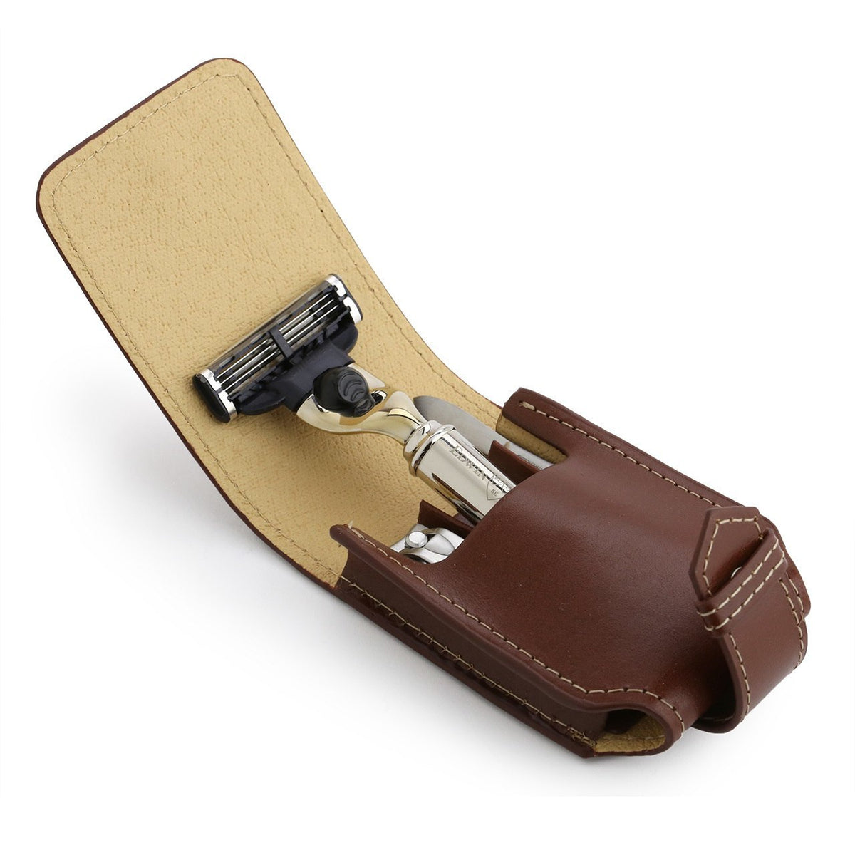 Edwin Jagger Mach 3 Travel Set - Brown