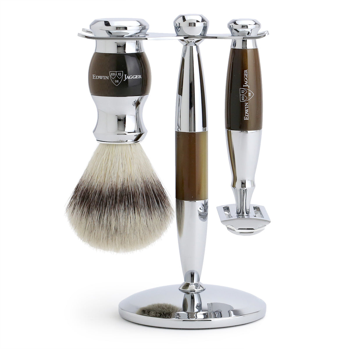 Edwin Jagger 3 Piece Chrome Plated Shaving Set with Synthetic Silver Tip Brush - Imitation Horn
