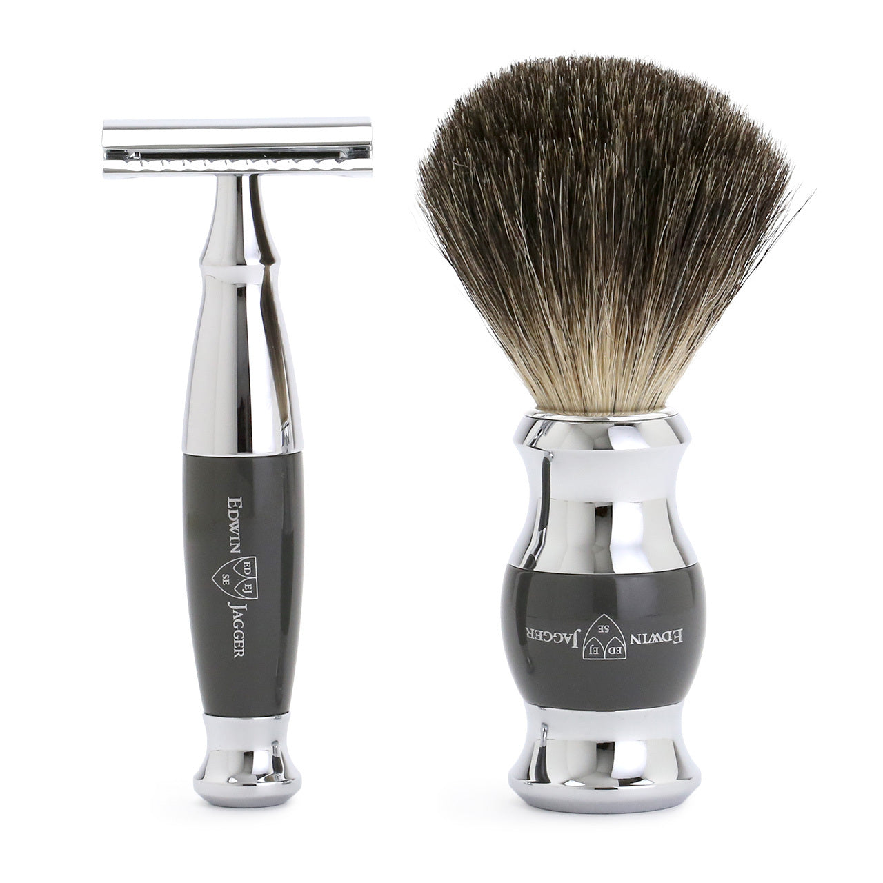 Edwin Jagger Chrome and Grey Shaving set - Safety Razor, Badger Shaving Brush and Stand