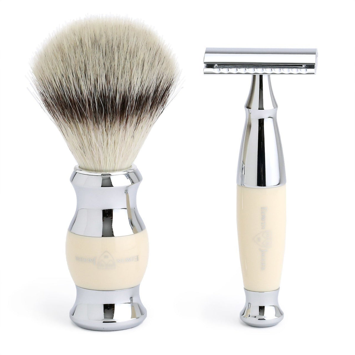 Edwin Jagger 3 Piece Chrome Plated Shaving Set with Synthetic Silver Tip Brush - Imitation Ivory