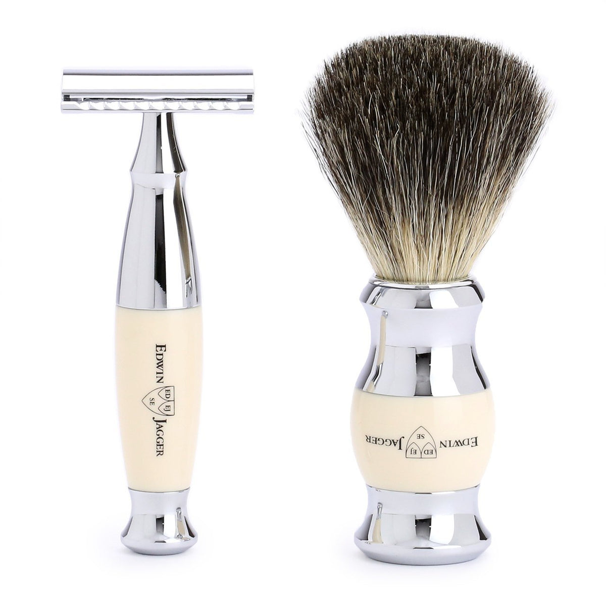 Edwin Jagger 3 Piece Chrome Plated Shaving Set - Ivory