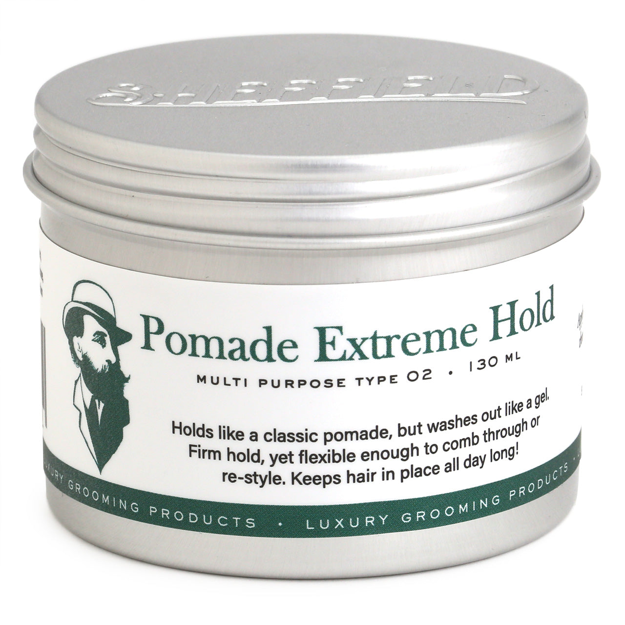 Sheffield Pomade Extreme Hold, 130ml Front of tin