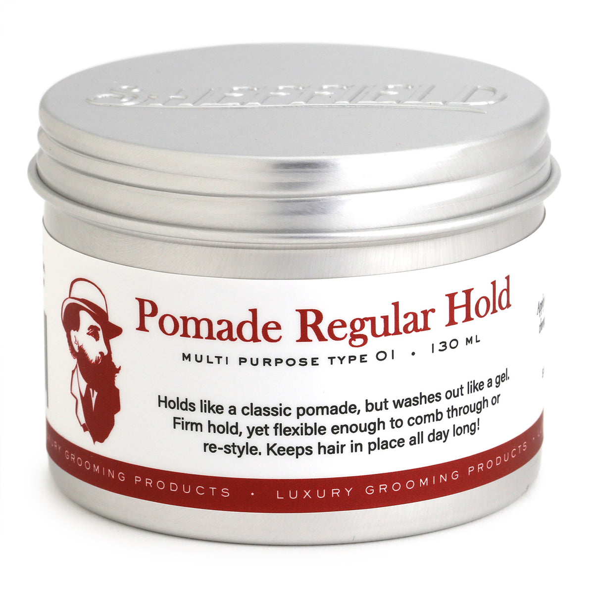Sheffield Pomade Regular Hold, 130ml Front of tin