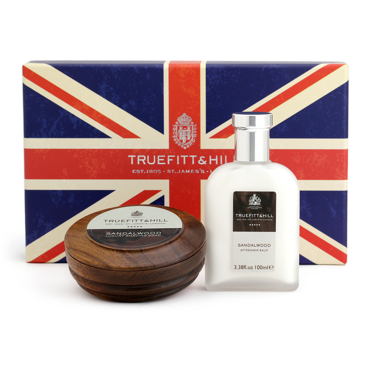 Truefitt & Hill 2 piece gift set - Sandalwood Luxury Shaving Soap in a Wooden Bowl, and Aftershave Balm