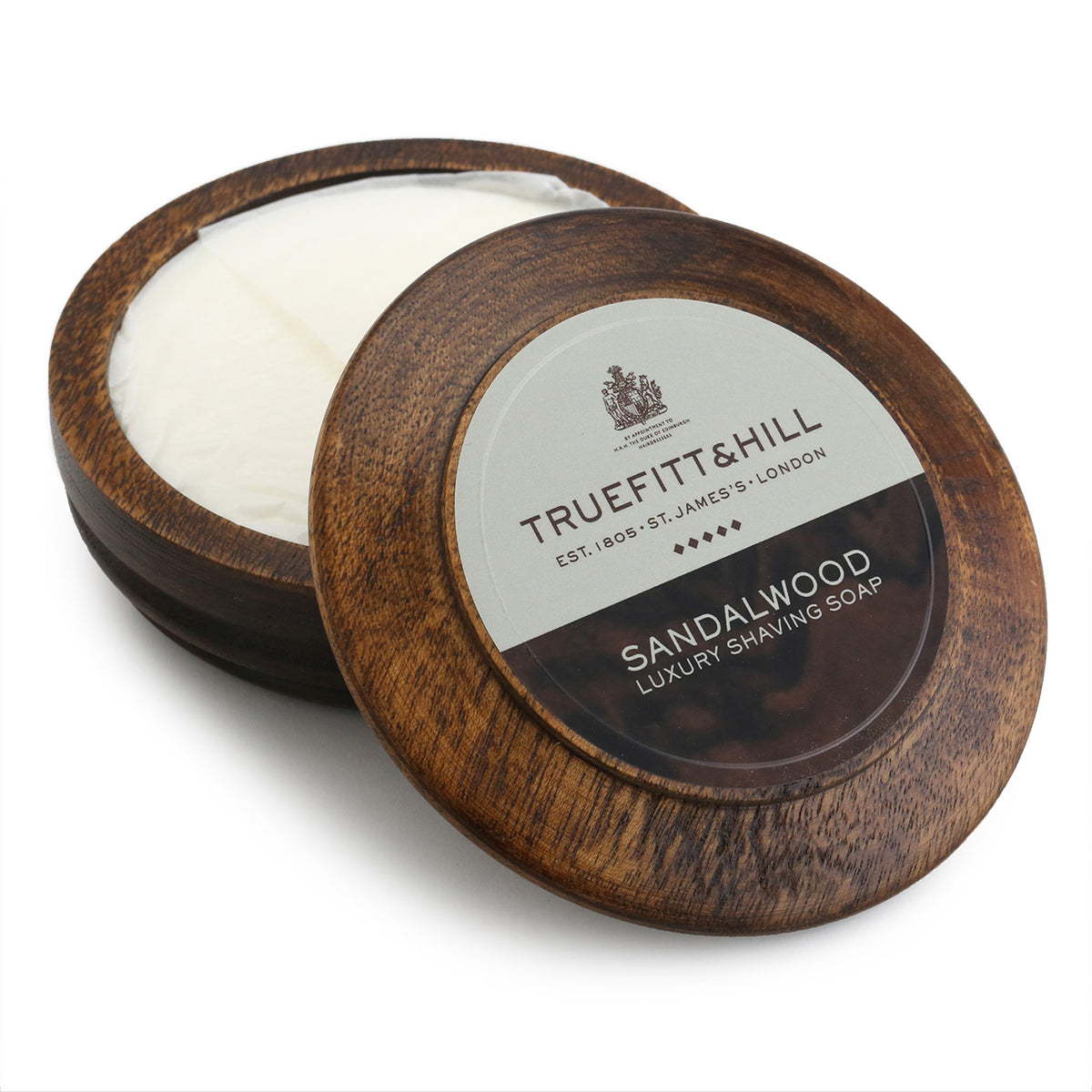 Truefitt & Hill Sandalwood Luxury Shaving Soap in a Wooden Bowl