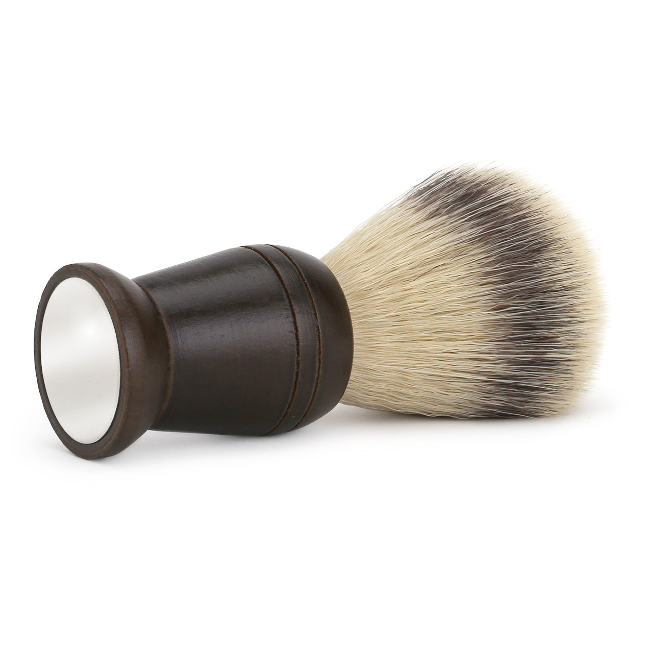 Synthetic shaving brush with wooden handle