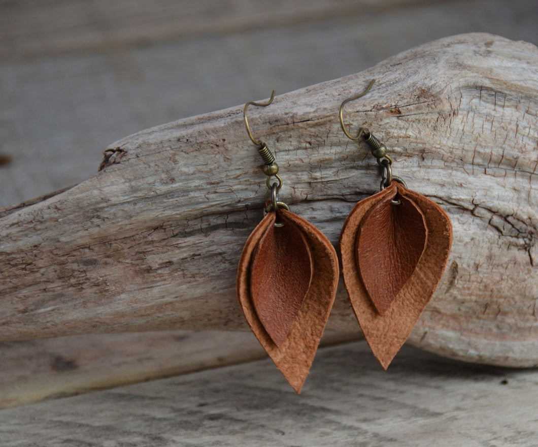 Leather Double Leaf Earrings