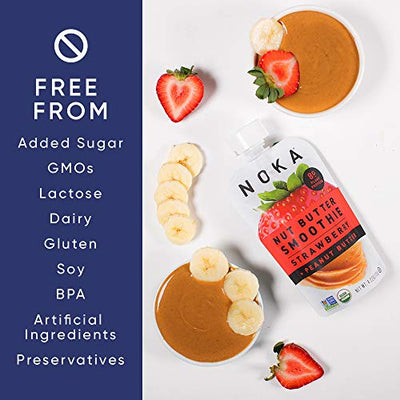 NOKA 12 Pack Nut Butter Strawberry Peanut Butter Smoothie Pouch