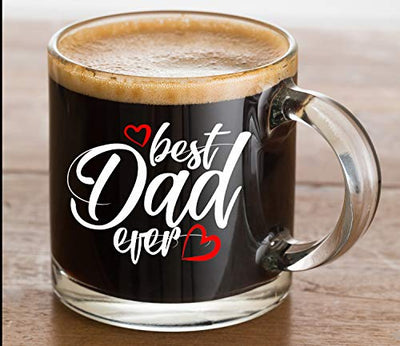 13 oz Best Dad Ever Glass Coffee Mug