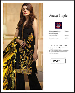 Anaya Embroidered Linen Digital Print - ASE3