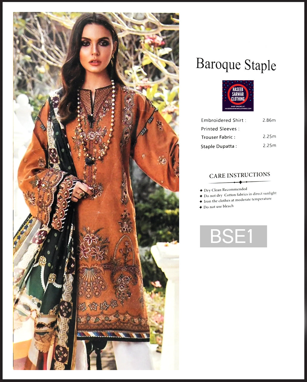 Baroque Embroidered Linen Digitial Print - BSE1