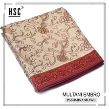Load image into Gallery viewer, Multani Embro Pashmina Shawl For Ladies - MES8