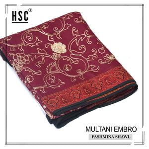Multani Embro Pashmina Shawl For Ladies - MES6