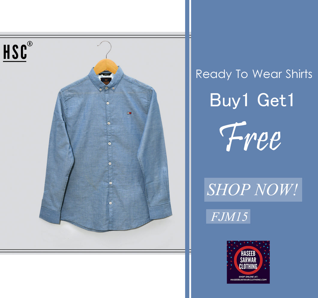 Dots Jaquard RTW Casual Shirt For Men - FJM15