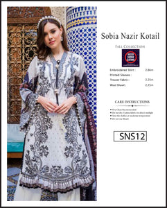 Sobia Nazir Embroidered Linen Digitial Print - SNS12