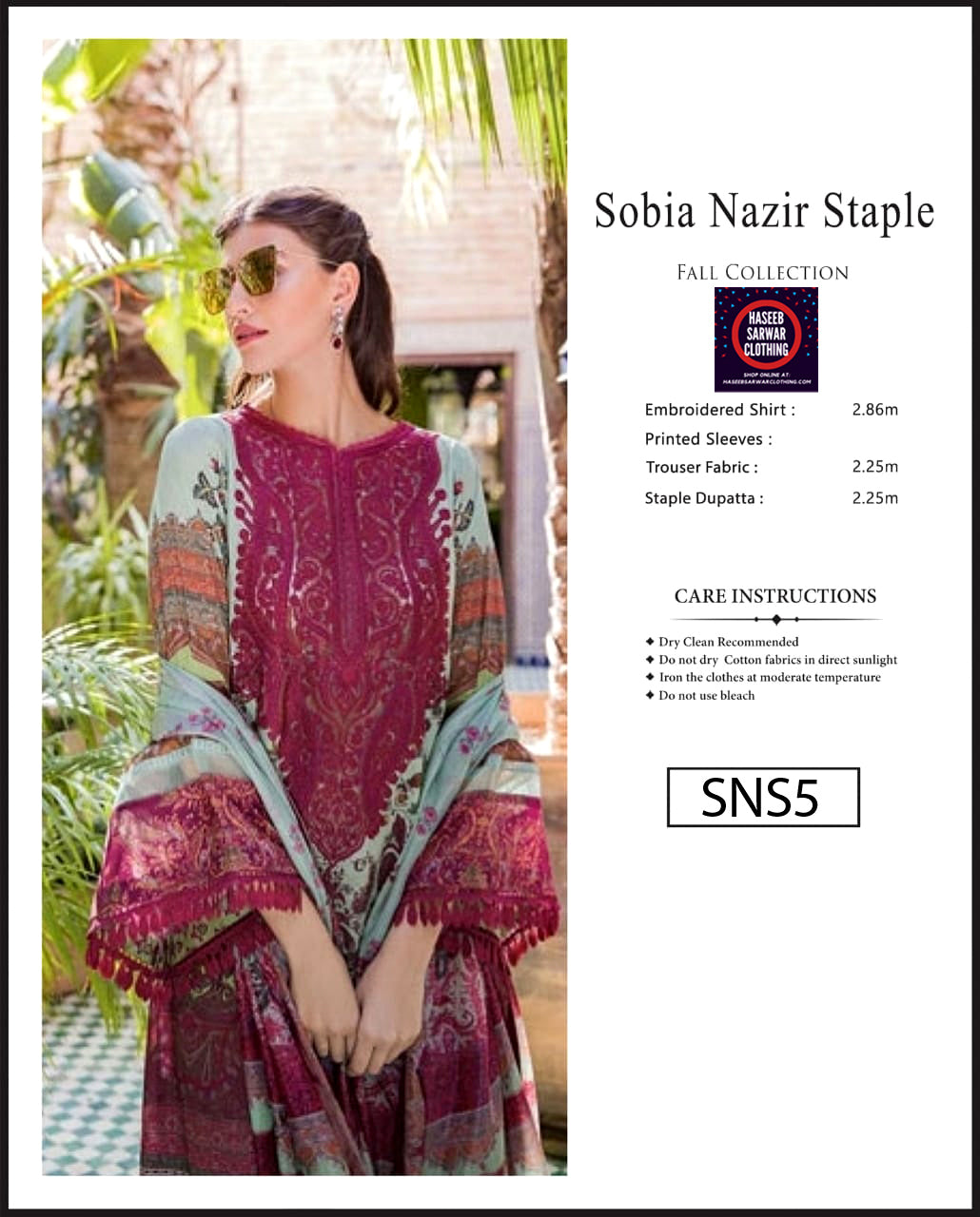 Sobia Nazir Embroidered Linen Digitial Print - SNS5