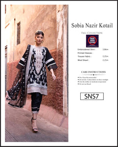 Sobia Nazir Embroidered Linen Digitial Print - SNS7