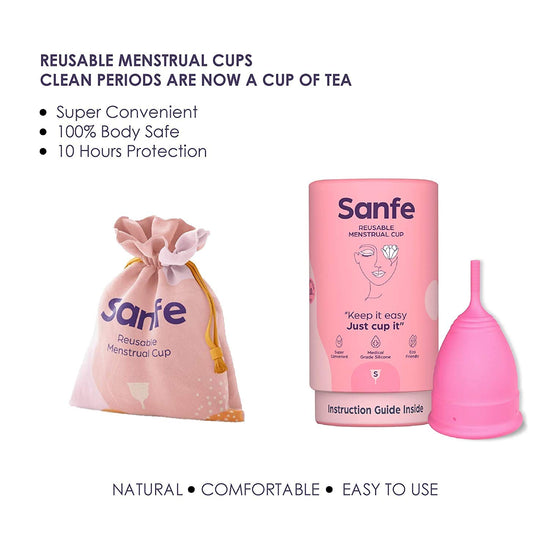 Sanfe Curve Confidence Kit - Anti-Chafing & Rash Cream (50g), Reusable Menstrual Cup (small) - Natural, Eco-friendly