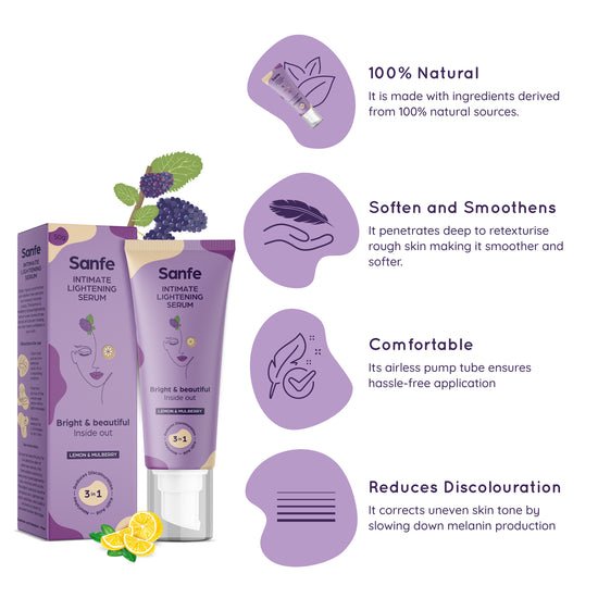 Sanfe Fresh n' Bright Kit - Natural Intimate Lightening Serum (50g), 3-in-1 Intimate Wash 100ml (Lavender & Chamomile)