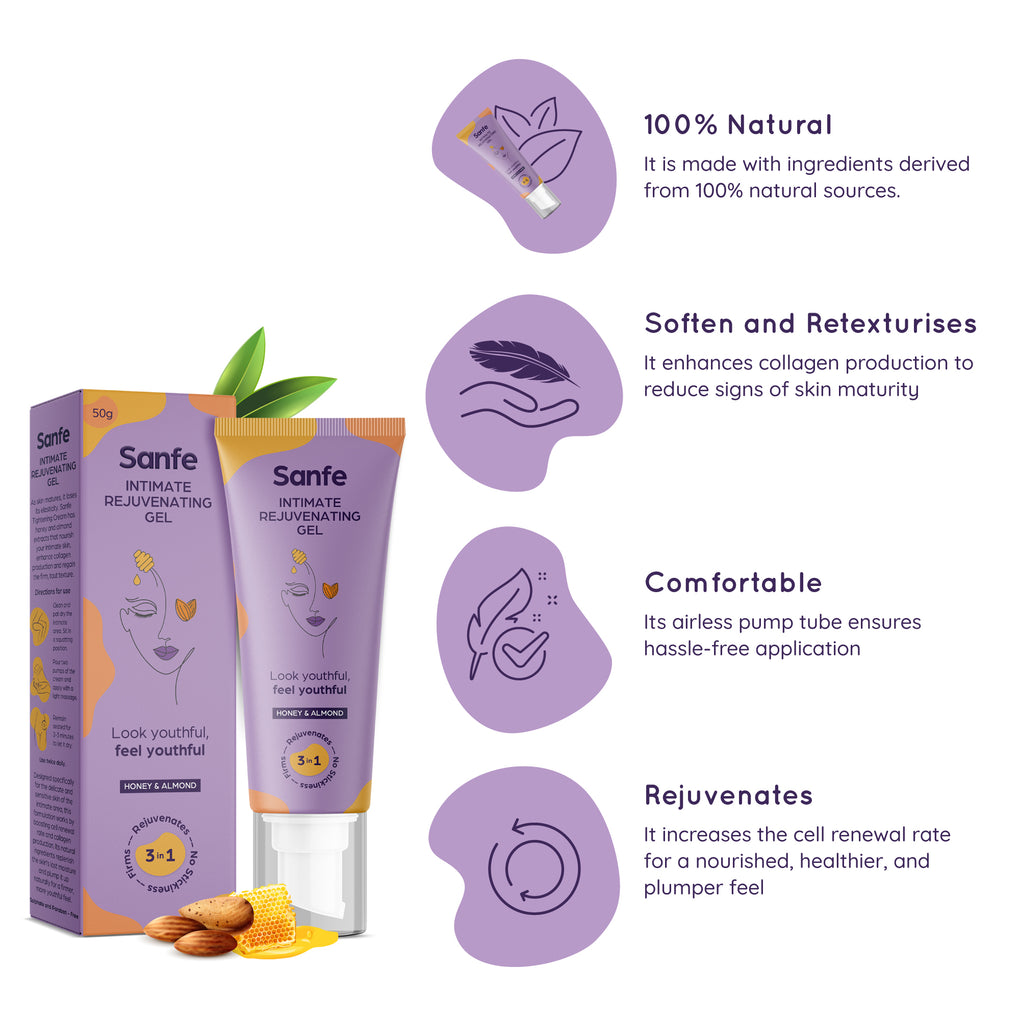 Sanfe Nature Novelty Kit - Natural Intimate Rejuvenating Gel (50g), 3-in-1 Intimate Wash 100ml (Cucumber & White Lily)