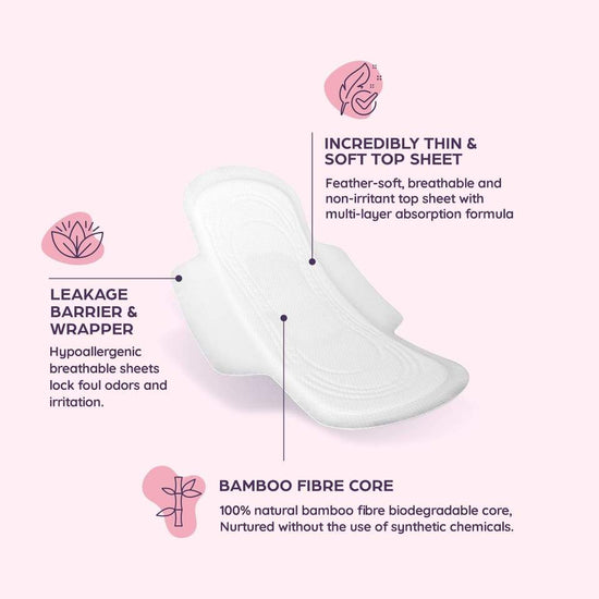 Rash Free Bamboo Sanitary Pads Duo Pack - Day + Night Pads