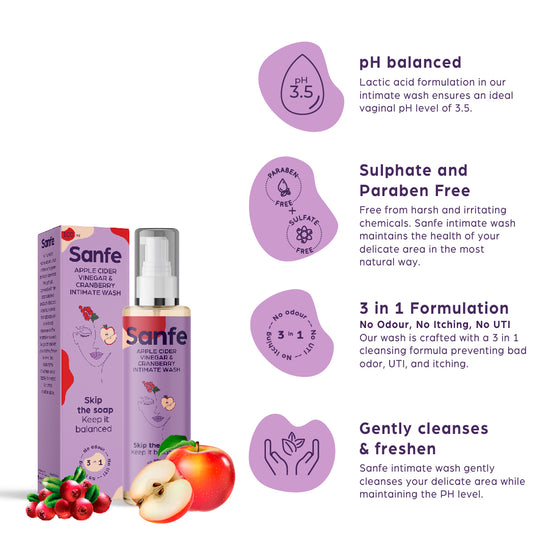 Sanfe Intimate Wash - Apple Cider Vinegar with Cranberry